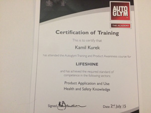 AutoGlym Certificate of Training